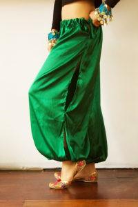 Satin Harem Pants Green