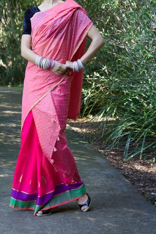 Indian Pink Mekhela from Assam