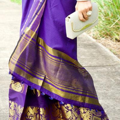 Indian Mekhela Purple for formal occasion