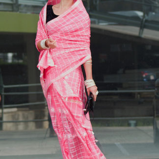 Indian Mekhela Pink for formal occasion