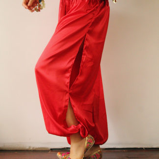 Satin Harem Pants Red