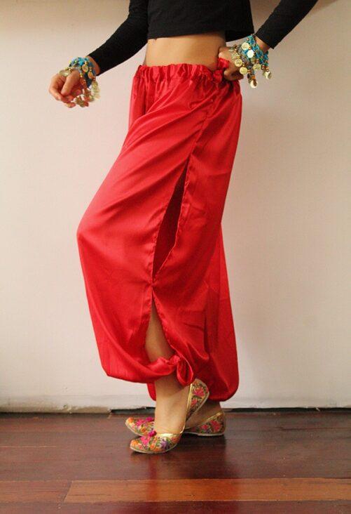 Satin Harem Pants Red