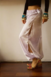 Satin Harem Pants White