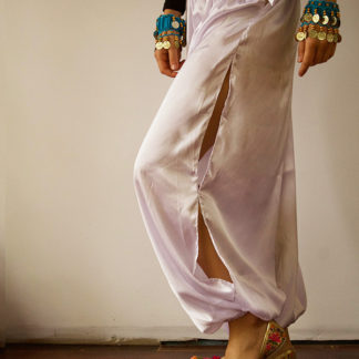 Satin Harem Pants White