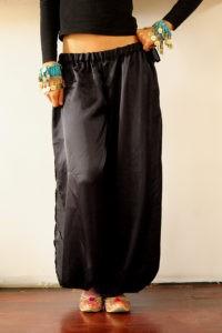 Black Satin Harem Pants