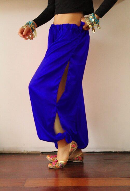 Blue Satin Harem Pants