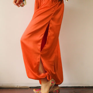 Orange Satin Harem Pants
