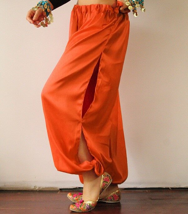 Orange Satin Harem Pants