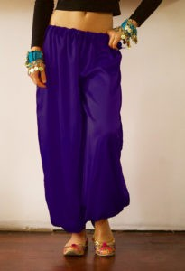 Purple Satin Harem Pants