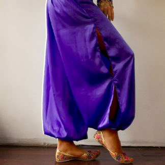 Purple Satin Harem Pants