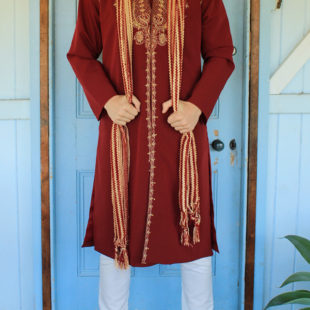Regal Burgundy 3 piece Sherwani Suit