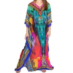 Long chiffon kaftan dress