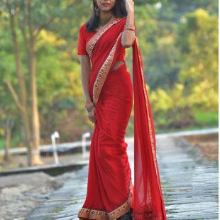 Chiffon Silk Saree With Borders- Red