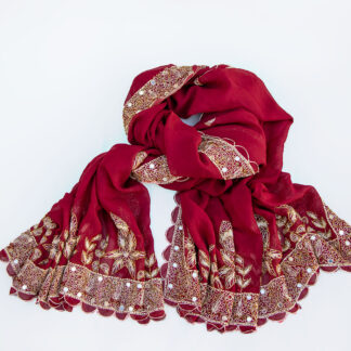 Indian veil with embroidery red